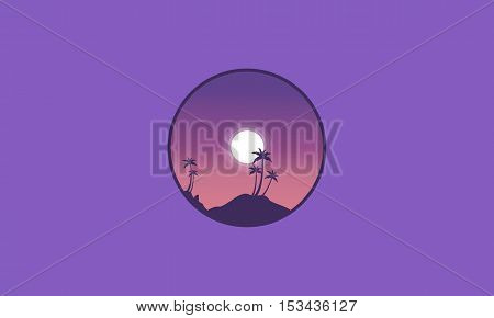 Beautiful scenery palm on the beach at night silhouettes vector