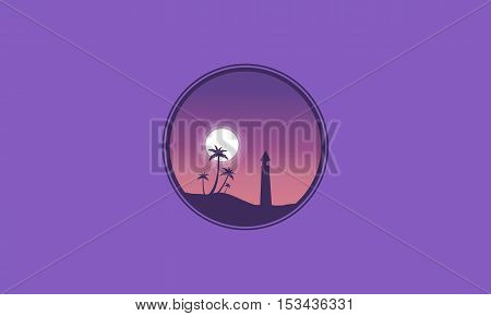 Palm and lighthouse landscape at night vector illustration