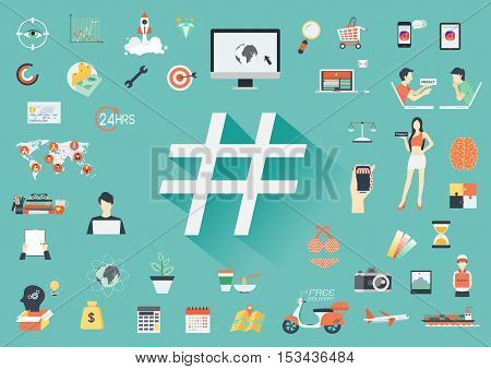 Hashtag symbol with long shadow and business flat icons. Banner template - Stock vector