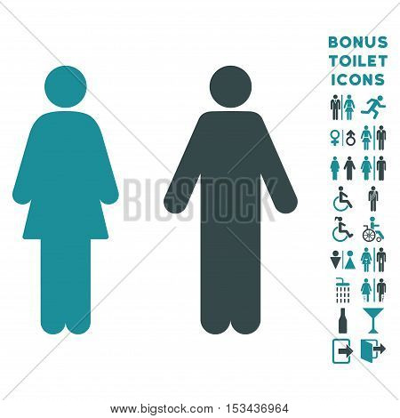 WC Persons icon and bonus man and female WC symbols. Vector illustration style is flat iconic bicolor symbols, soft blue colors, white background.