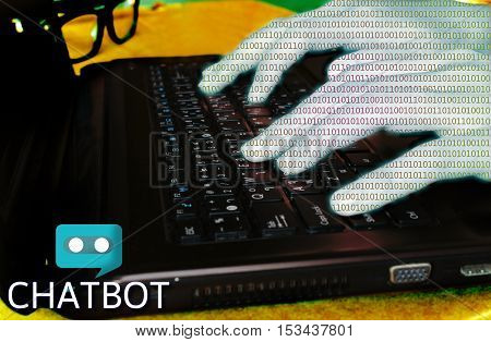 Chat bot concept hand of binary code typing on laptop for chatting.