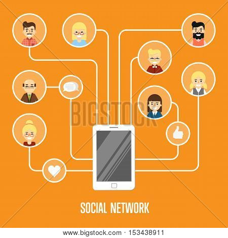Social media network infographics with people and their social network. Community of social network people vector. Social media people. Social networking concept. Social media and social network people connecting. Social network map. Social network.