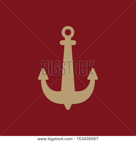 The anchor icon. Ocean symbol. Flat Vector illustration