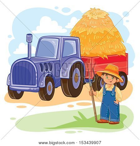 Vector illustration of a little boy farmer standing next with a tractor
