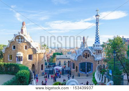 Barcelona Spain - February 8 2016: Building in Park Guell in Barcelona Spain one of the major examples of the work Antonio Gaudi