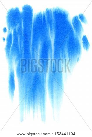 Blue watery spreading illustration.Abstract watercolor hand drawn image.Azure splash.White background.