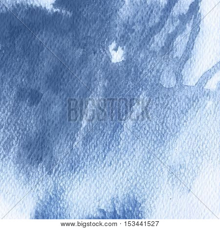 Blue splash, watercolor abstract hand painted illustration. Riverside tint background, trendy for winter 2016-2017.