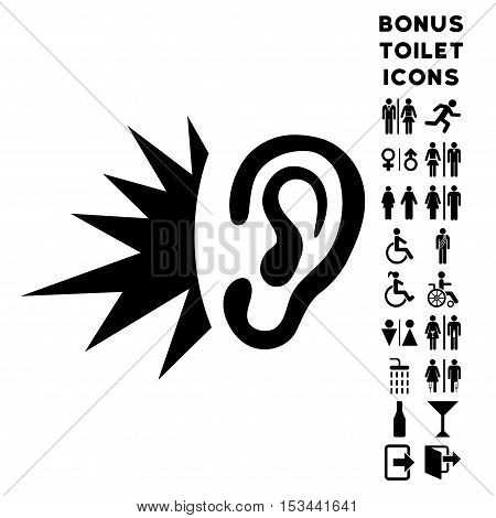 Listen Loud Sound icon and bonus gentleman and lady restroom symbols. Vector illustration style is flat iconic symbols, black color, white background.