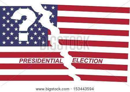 Divided flag of the United States with question mark and text presidential election