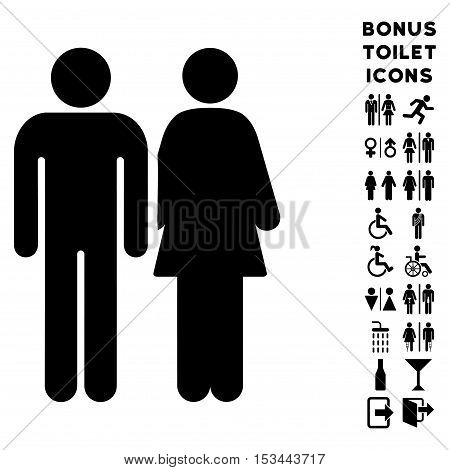 Married Couple icon and bonus gentleman and lady restroom symbols. Vector illustration style is flat iconic symbols, black color, white background.
