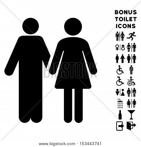 Married Couple icon and bonus male and female lavatory symbols. Vector illustration style is flat iconic symbols, black color, white background.