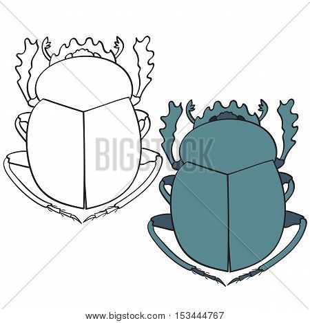 Set of the scarab beetle and scarab contour vector illustration