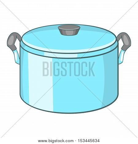 Pot with lid icon. Cartoon illustration of pot with lid vector icon for web