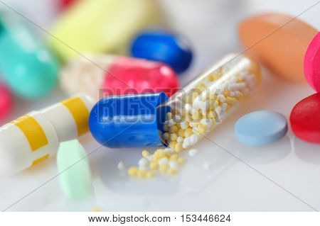 Assorted colored pills and capsules, close up