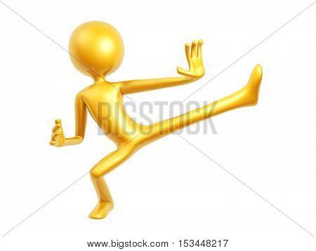 gold fighter kung fu guy kick up 3D illustration