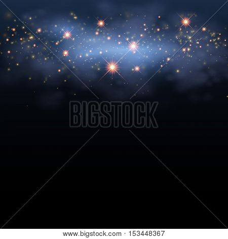 Magic star shine sky. Vector magical glitter sky space. Glamour Christmas Eve background
