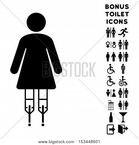 Woman Crutches icon and bonus man and lady WC symbols. Vector illustration style is flat iconic symbols, black color, white background.
