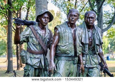 WASHINGTON D.C.,USA - AUGUST 14, 2016 : The Three Soldiers statue commemorating the Vietnam War at the National Mall in Washington D.C.