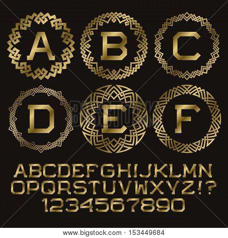 Golden angular monogram kit. Gold letters and round plexus stripes frames for creating initial logo.