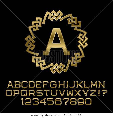 Golden angular letters and numbers with A initial monogram. Beautiful presentable font for logo design. Isolated english alphabet figures.