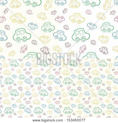 Set of seamless baby boy pattern. Vector boyish background. Pattern with hand drawn cars.