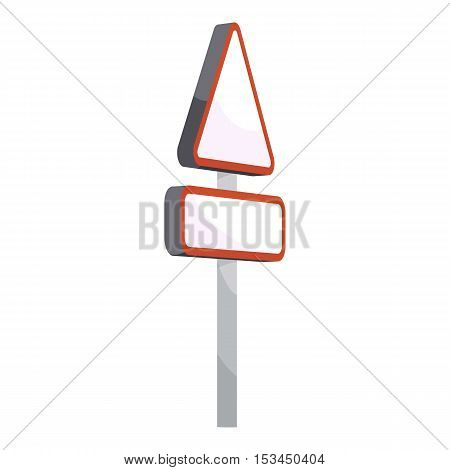 Triangular road sign icon. Cartoon illustration of triangular road sign vector icon for web