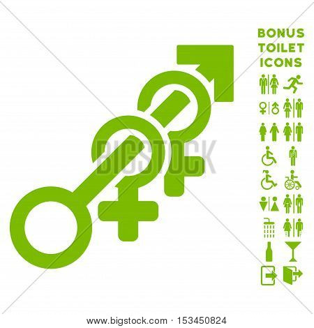 Harem icon and bonus male and female toilet symbols. Vector illustration style is flat iconic symbols, eco green color, white background.