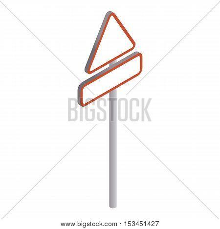 Triangular road sign icon. Isometric 3d illustration of triangular road sign vector icon for web