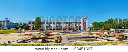 Bishkek, Kyrgyzstan - August 11, 2016: View of Ala-Too Square, the central square of Bishkek. The square was built in 1984 to celebrate the 60th anniversary of the Kyrgyz SSR