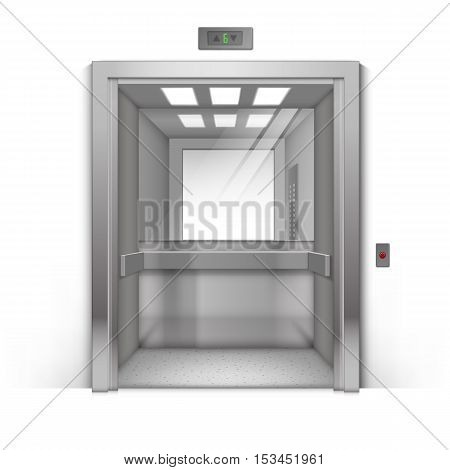 Vector Realistic Open Chrome Metal Office Building Elevator with Mirror Isolated on Background