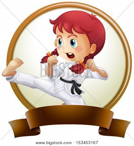 Banner template with girl doing karate illustration