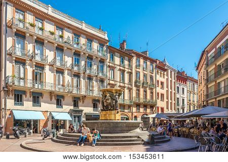 TOULOUSE,FRANCE - AUGUST 30,2016 - In the place of Trinite in Toulouse. Toulouse is the capital city of the southwestern French department of Haute-Garonne as well as of the Occitanie region.