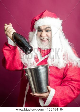 Smiling Christmas Man With Bottle In Pail