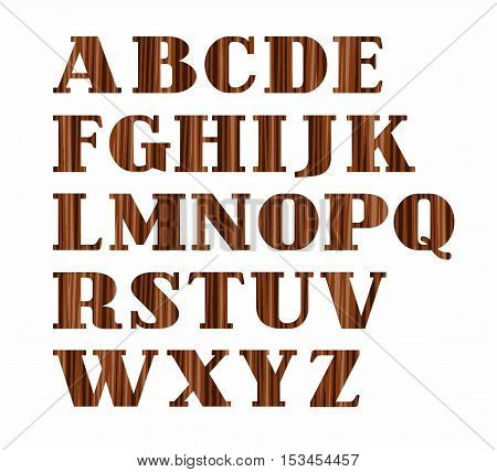 English alphabet, uppercase letters, wood texture, imitation, vector. Vector font, on a white background. Brown letters, imitation wood texture.