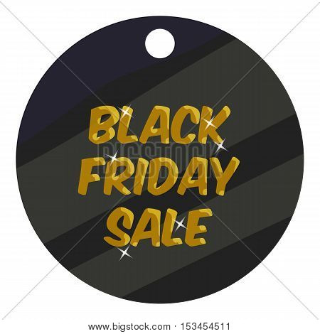 Round tag black friday sale icon. Cartoon illustration of round tag black friday sale vector icon for web