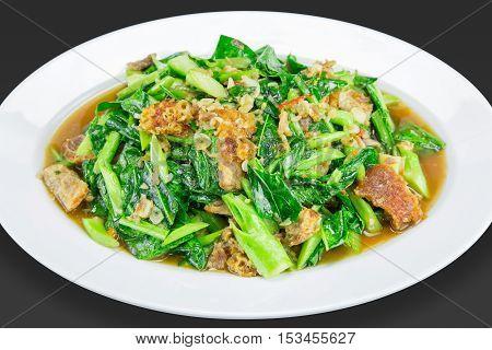 Stir-fried Kai-lan With Crispy Pork