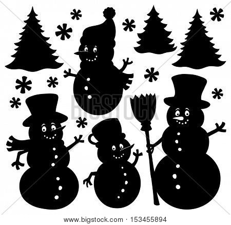 Snowmen silhouettes theme set 1 - eps10 vector illustration.