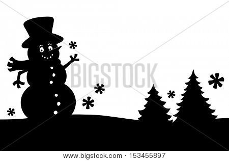 Snowman silhouette theme image 1 - eps10 vector illustration.