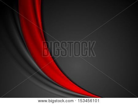 Contrast red black abstract wavy background. Smooth bright vector graphic template design