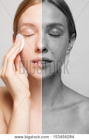 A picture of a happy woman cleaning her face with cotton pads over white background. Beautiful Face of Young Woman with Clean Fresh Skin close up. Beauty Portrait. Youth and Skin Care Concept