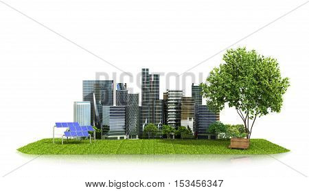 Concept ecology of the city. City on green grass solar panels near the Park and the city. 3D illustration