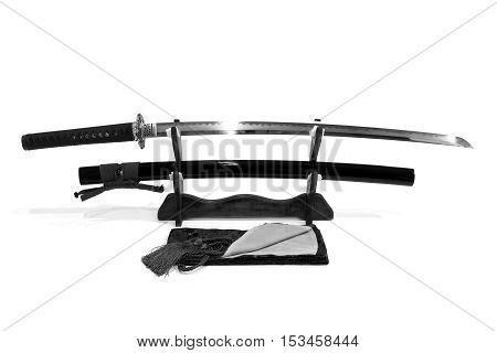 Katana Japanese  sword on stand with white background