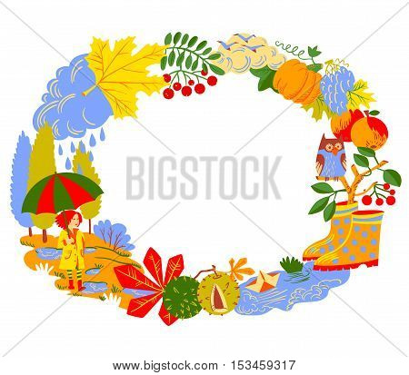 Fall season vector wreath. Autumn border as landscape with girl with umbrella pounds rainy clouds and paper boat birds pumpkin colorful leaves with chestnut owl and rowan branches
