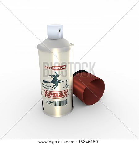 Illustration of anti witches spray with cap. 3D rendering. Metallic painting label. Anti witches spray text on bottle. Flying witch silhouette