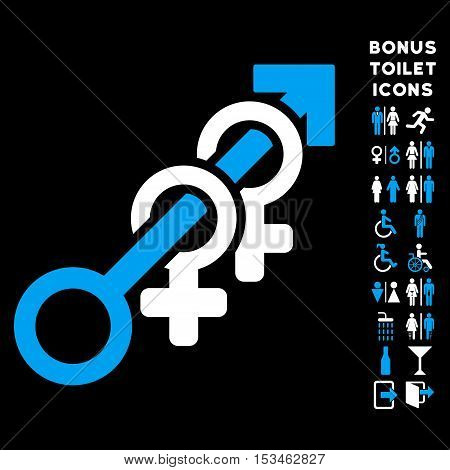Harem icon and bonus man and lady restroom symbols. Vector illustration style is flat iconic bicolor symbols, blue and white colors, black background.