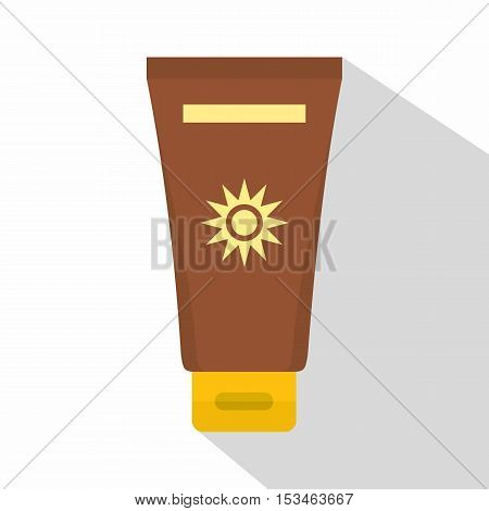 Cream sun protection icon. Flat illustration of cream sun protection vector icon for web