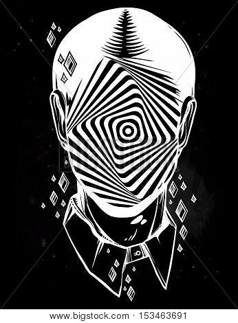 Hand drawn portrait of a weird man with anonymous face. Graphic drawing in Noir retro style with vortex starburst twirl head. Character design, surrealism, tattoo art. Isolated vector illustration.
