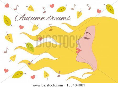 Autumn dreams / Portrait of a young beautiful woman on the autumn background from flying leaves, notes and hearts. Vector image isolated on a white background.