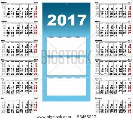 Quarterly Wall Calendar for 2017. Template grid vector illustration