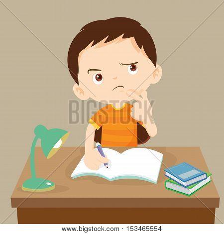 Cute Boy Thinking Working On Homework